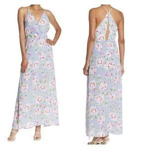 LUSH Floral Surplice Neck Maxi Dress Lilac-Coral